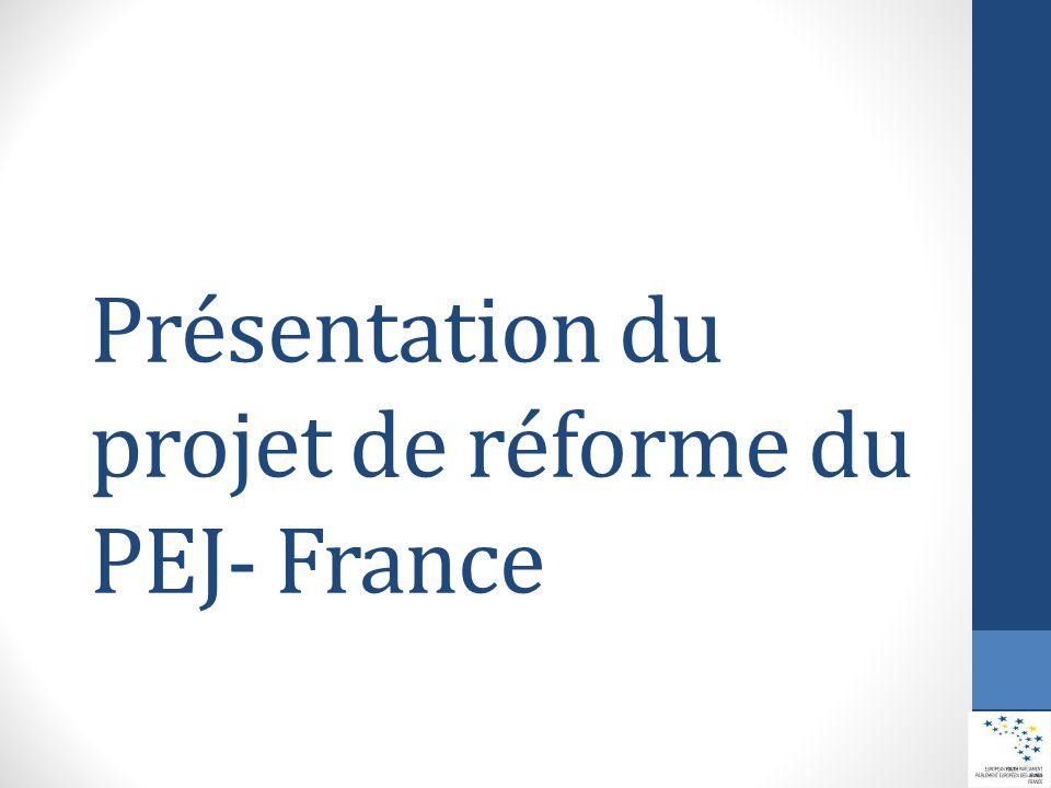 Le « réseau PEJ-France » est construit sur les fondements suivants : Rassemblant des bénévoles agissant à tous les niveaux de l'association dans un but commun et sur le fondement de valeurs partagées Regroupant des bénévoles conduisant ensemble des activités communes Fondé sur la solidarité, notamment financière, entre ses structures Soutenu et appuyé par une tête de réseau Réseau PEJ- France Le Parlement Européen des Jeunes – France a l'ambition d'être un réseau d'envergure nationale couvrant l'ensemble du territoire et rassemblant celles et ceux qui veulent consacrer bénévolement leur énergie à renforcer la citoyenneté active des jeunes et leur ouverture européenne.