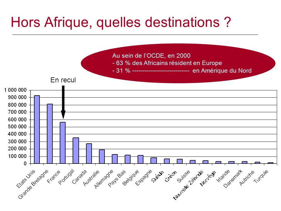 Hors Afrique, quelles destinations ? Au sein de l'OCDE, en 2000 - 63 % des Africains résident en Europe - 31 % ---------------------------- en Amériqu