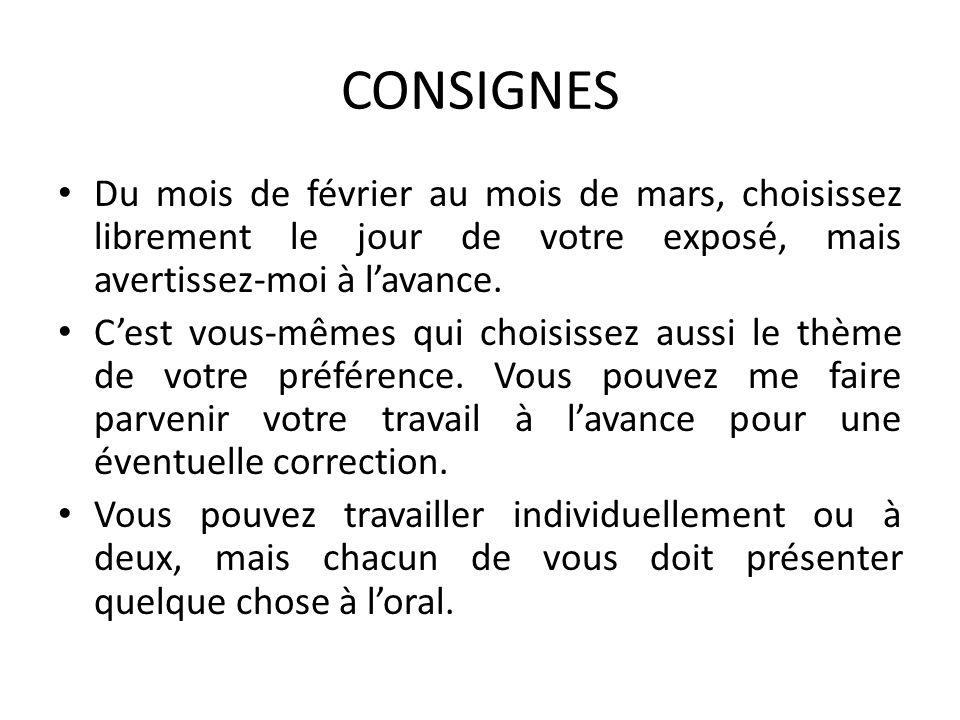LISTE DES THÈMES - 1 Les personnages Les citations en début de chapitre (Sauf les citations de musique et de ciné).