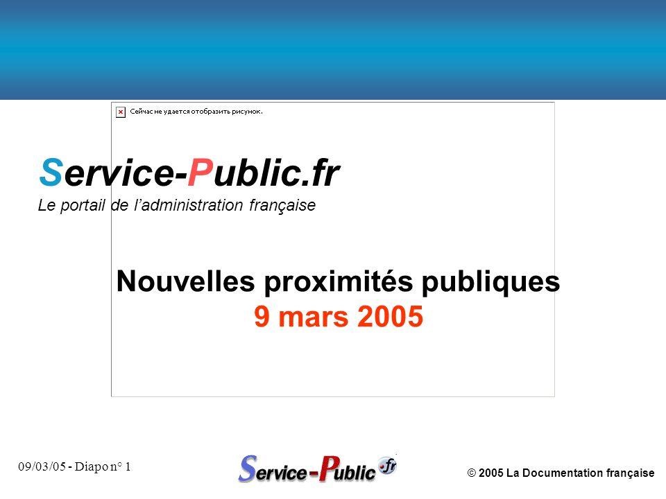 © 2005 La Documentation française 09/03/05 - Diapo n° 1 Service-Public.fr Le portail de l'administration française Nouvelles proximités publiques 9 ma