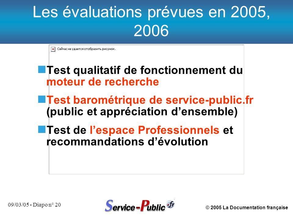 © 2005 La Documentation française 09/03/05 - Diapo n° 20 n Test qualitatif de fonctionnement du moteur de recherche n Test barométrique de service-public.fr (public et appréciation d'ensemble) n Test de l'espace Professionnels et recommandations d'évolution Les évaluations prévues en 2005, 2006
