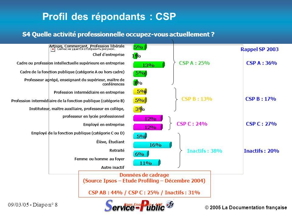 © 2005 La Documentation française 09/03/05 - Diapo n° 8 S4 Quelle activité professionnelle occupez-vous actuellement ? Base Ensemble : 448 Profil des