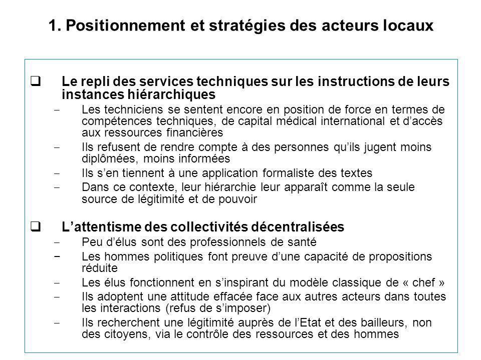 1. Positionnement et stratégies des acteurs locaux  Le repli des services techniques sur les instructions de leurs instances hiérarchiques ‒ Les tech