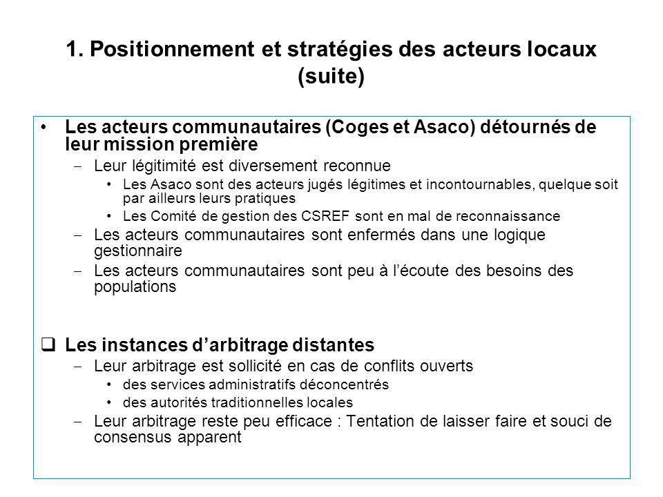 1. Positionnement et stratégies des acteurs locaux (suite) Les acteurs communautaires (Coges et Asaco) détournés de leur mission première ‒ Leur légit