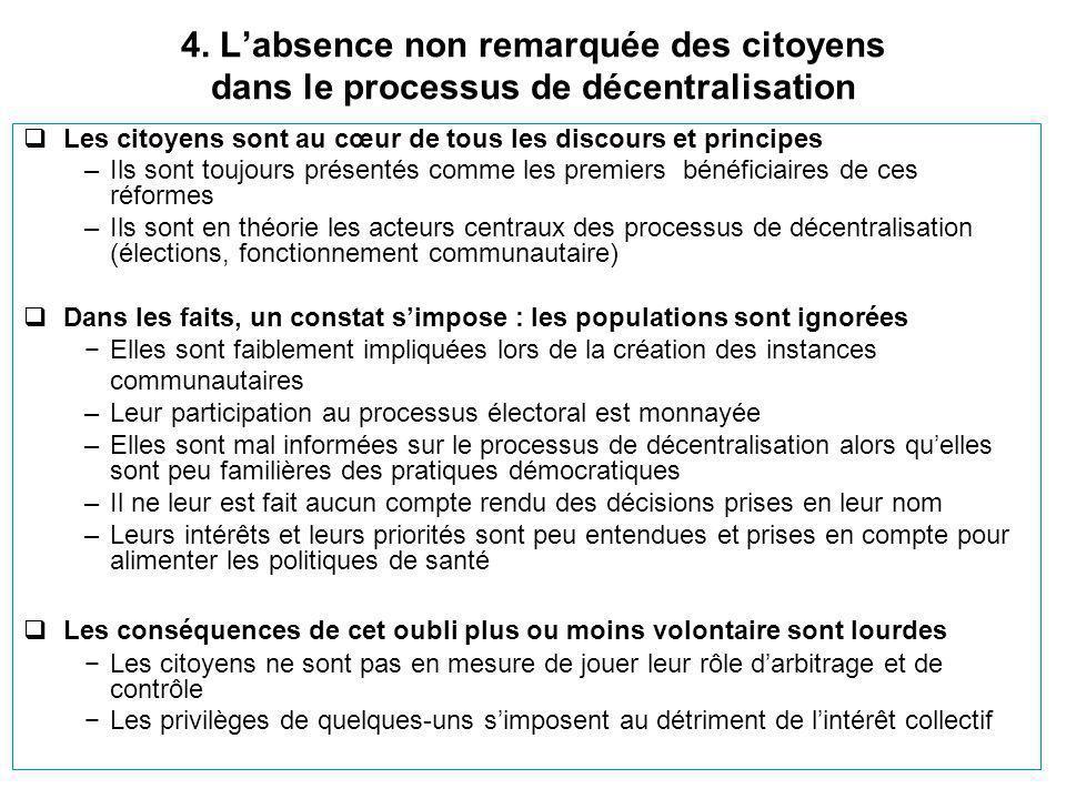 4. L'absence non remarquée des citoyens dans le processus de décentralisation  Les citoyens sont au cœur de tous les discours et principes –Ils sont