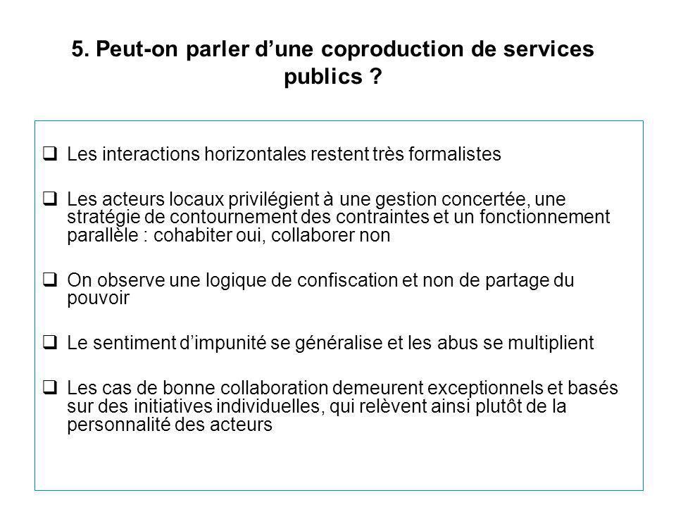 5. Peut-on parler d'une coproduction de services publics ?  Les interactions horizontales restent très formalistes  Les acteurs locaux privilégient
