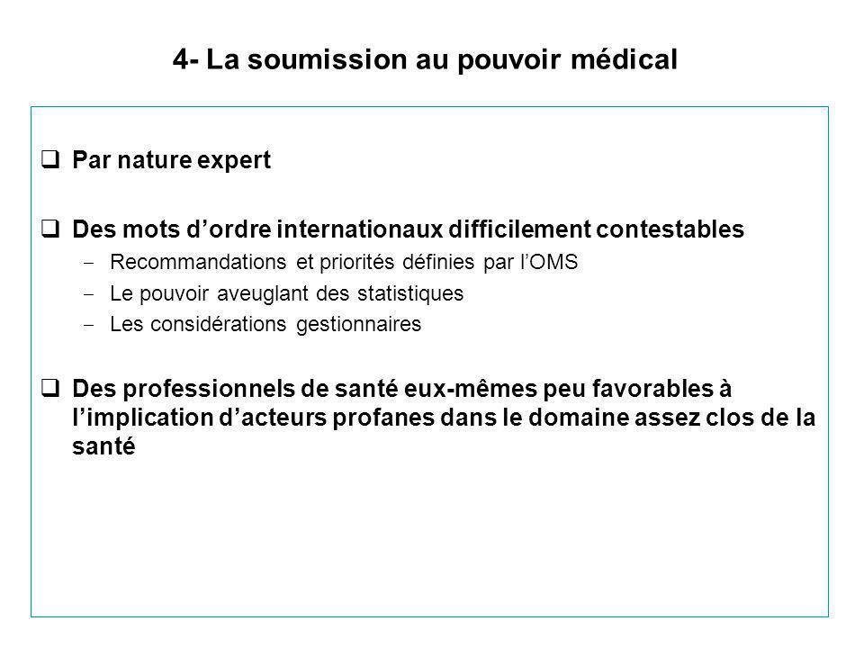 4- La soumission au pouvoir médical  Par nature expert  Des mots d'ordre internationaux difficilement contestables ‒ Recommandations et priorités dé