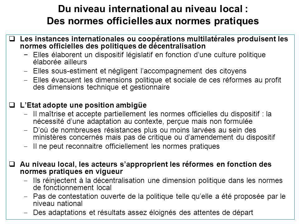 Du niveau international au niveau local : Des normes officielles aux normes pratiques  Les instances internationales ou coopérations multilatérales p