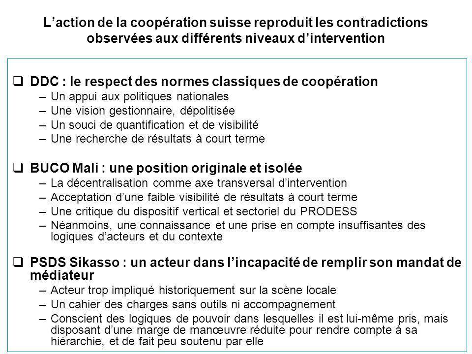L'action de la coopération suisse reproduit les contradictions observées aux différents niveaux d'intervention  DDC : le respect des normes classique