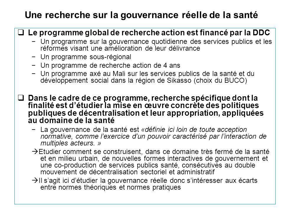  Le programme global de recherche action est financé par la DDC −Un programme sur la gouvernance quotidienne des services publics et les réformes visant une amélioration de leur délivrance −Un programme sous-régional −Un programme de recherche action de 4 ans −Un programme axé au Mali sur les services publics de la santé et du développement social dans la région de Sikasso (choix du BUCO)  Dans le cadre de ce programme, recherche spécifique dont la finalité est d'étudier la mise en œuvre concrète des politiques publiques de décentralisation et leur appropriation, appliquées au domaine de la santé −La gouvernance de la santé est «définie ici loin de toute acception normative, comme l'exercice d'un pouvoir caractérisé par l'interaction de multiples acteurs.