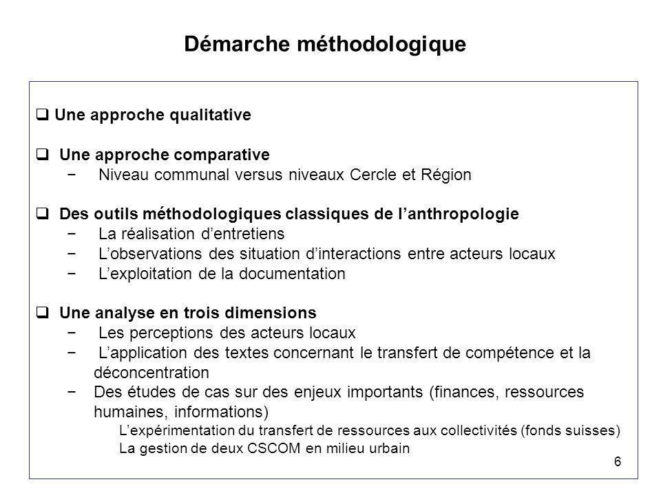 6 Démarche méthodologique  Une approche qualitative  Une approche comparative − Niveau communal versus niveaux Cercle et Région  Des outils méthodo