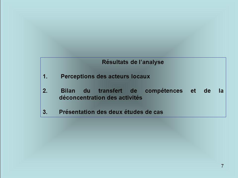 7 Résultats de l'analyse 1. Perceptions des acteurs locaux 2. Bilan du transfert de compétences et de la déconcentration des activités 3. Présentation