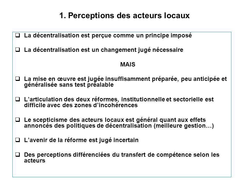 1. Perceptions des acteurs locaux  La décentralisation est perçue comme un principe imposé  La décentralisation est un changement jugé nécessaire MA
