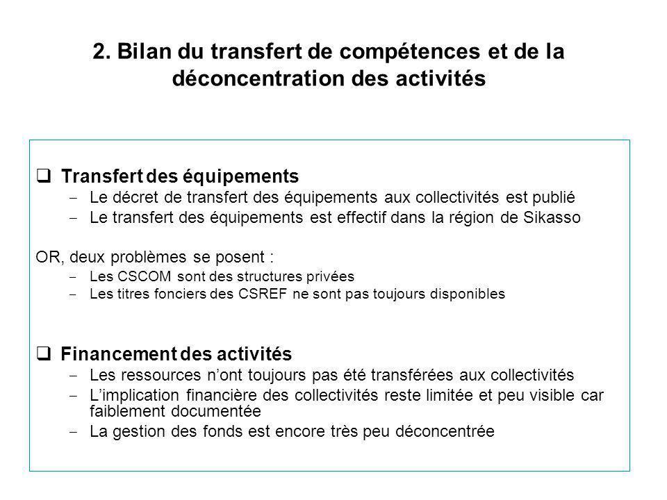 2. Bilan du transfert de compétences et de la déconcentration des activités  Transfert des équipements ‒ Le décret de transfert des équipements aux c