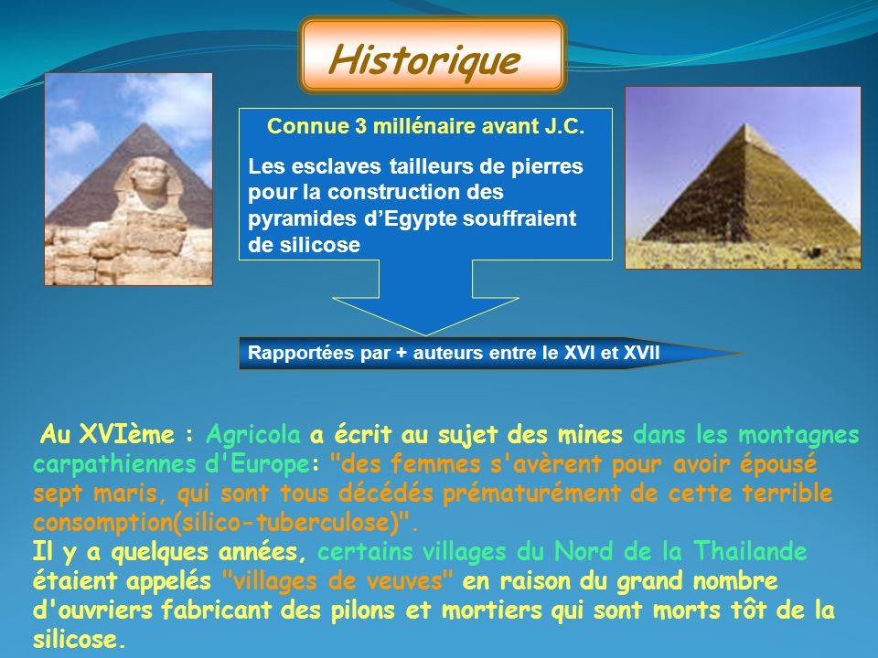 Historique Connue 3 millénaire avant J.C. Les esclaves tailleurs de pierres pour la construction des pyramides d'Egypte souffraient de silicose Rappor