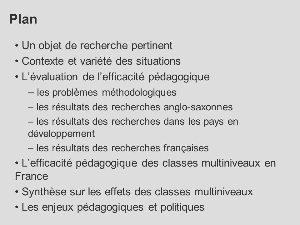 Plan Un objet de recherche pertinent Contexte et variété des situations L'évaluation de l'efficacité pédagogique – les problèmes méthodologiques – les