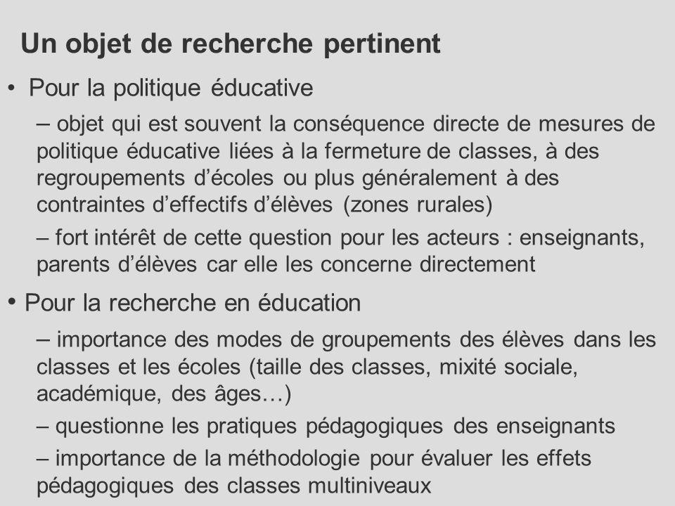 Un objet de recherche pertinent Pour la politique éducative – objet qui est souvent la conséquence directe de mesures de politique éducative liées à l