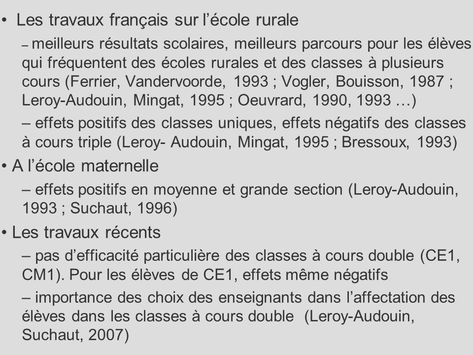Les travaux français sur l'école rurale – meilleurs résultats scolaires, meilleurs parcours pour les élèves qui fréquentent des écoles rurales et des