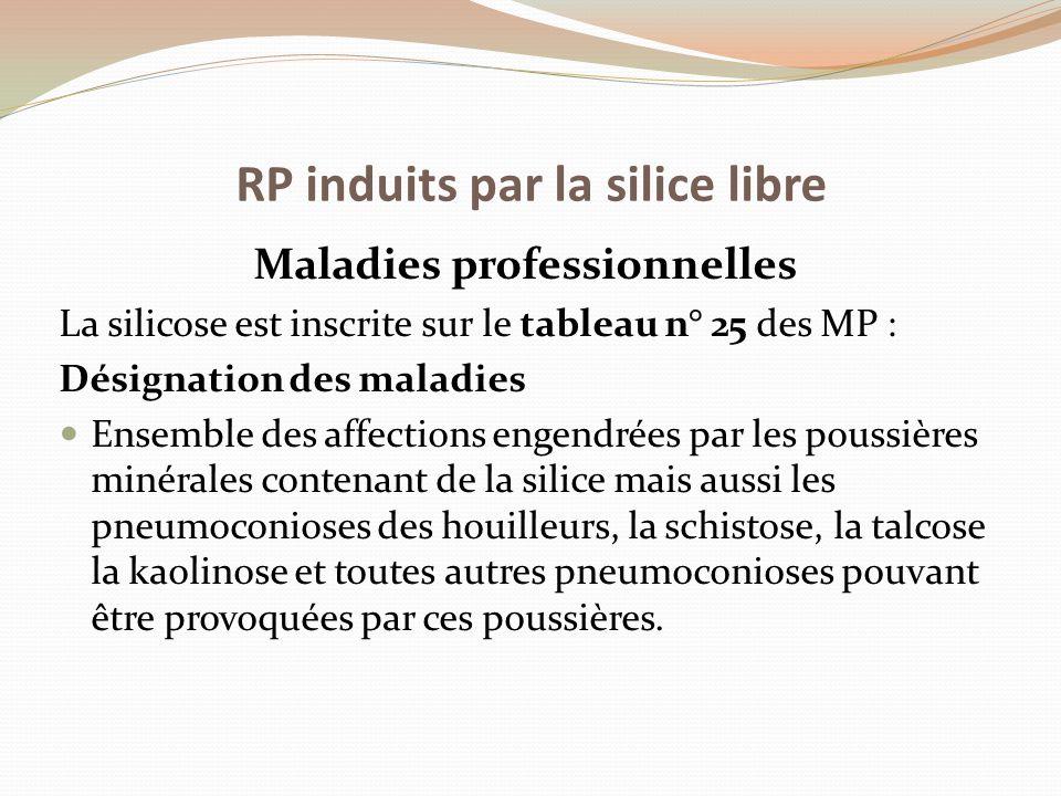 Maladies professionnelles La silicose est inscrite sur le tableau n° 25 des MP : Désignation des maladies Ensemble des affections engendrées par les p