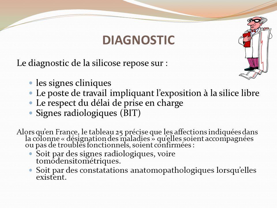 Le diagnostic de la silicose repose sur : les signes cliniques Le poste de travail impliquant l'exposition à la silice libre Le respect du délai de pr