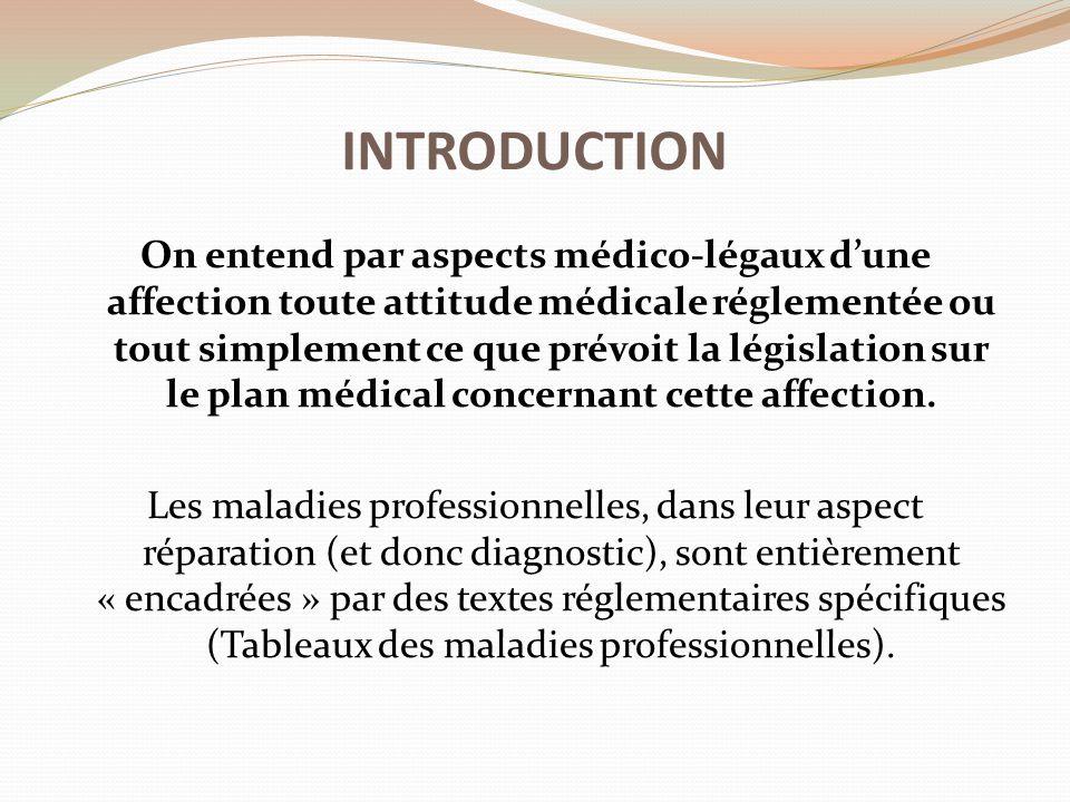 INTRODUCTION On entend par aspects médico-légaux d'une affection toute attitude médicale réglementée ou tout simplement ce que prévoit la législation