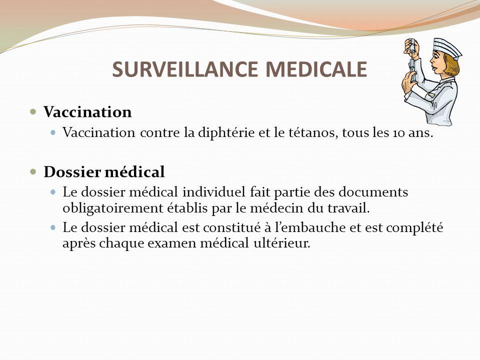 Vaccination Vaccination contre la diphtérie et le tétanos, tous les 10 ans. Dossier médical Le dossier médical individuel fait partie des documents ob