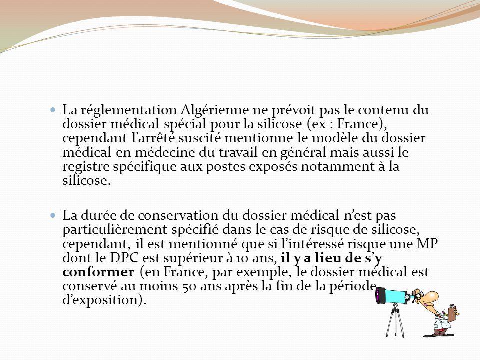 La réglementation Algérienne ne prévoit pas le contenu du dossier médical spécial pour la silicose (ex : France), cependant l'arrêté suscité mentionne