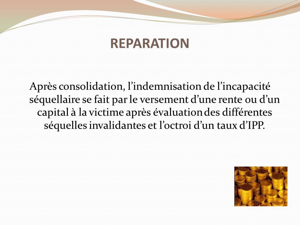 Après consolidation, l'indemnisation de l'incapacité séquellaire se fait par le versement d'une rente ou d'un capital à la victime après évaluation de