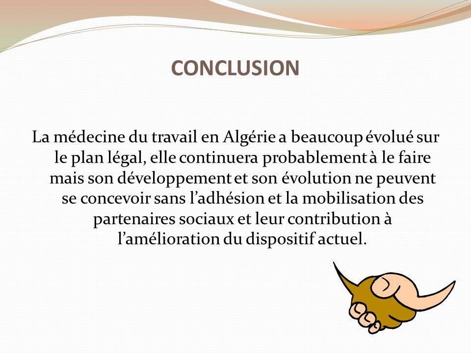 La médecine du travail en Algérie a beaucoup évolué sur le plan légal, elle continuera probablement à le faire mais son développement et son évolution