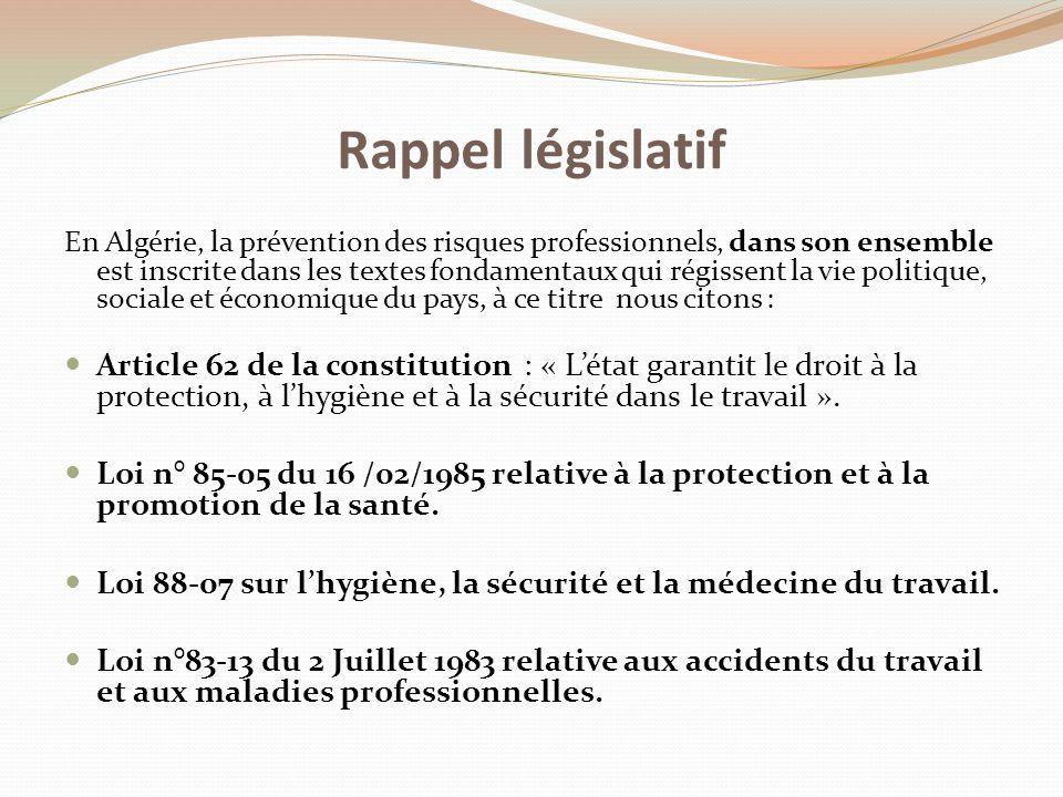 En Algérie, la prévention des risques professionnels, dans son ensemble est inscrite dans les textes fondamentaux qui régissent la vie politique, soci