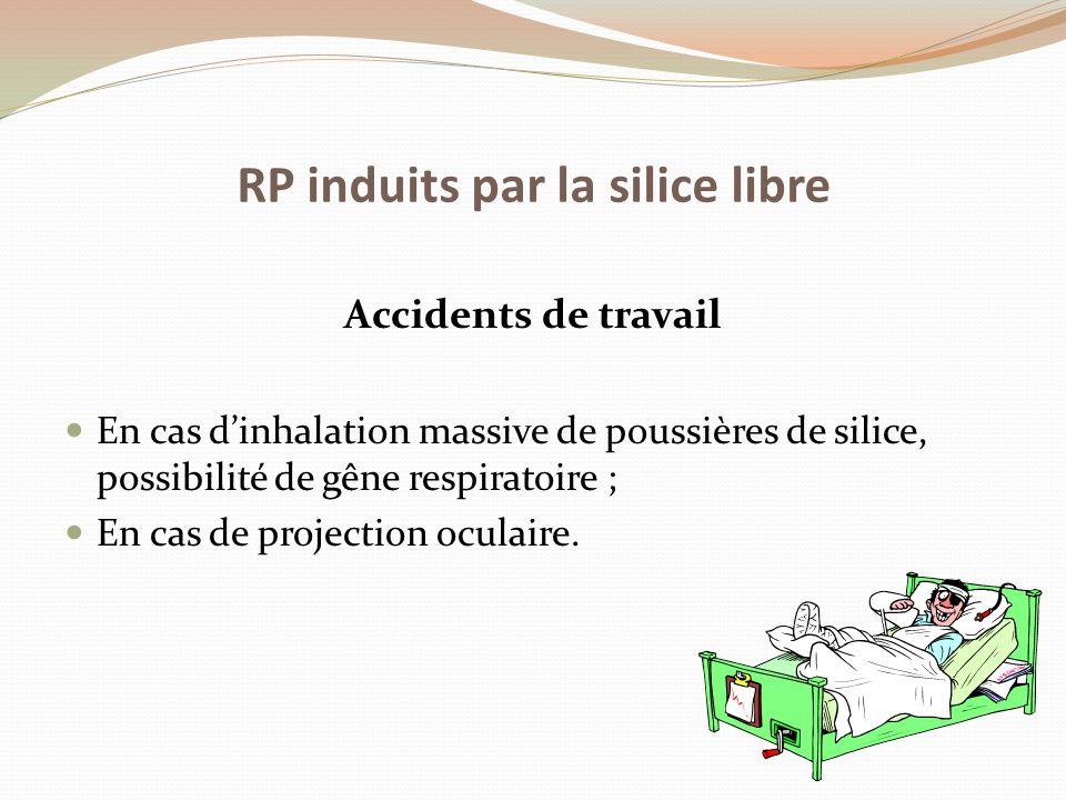 Accidents de travail En cas d'inhalation massive de poussières de silice, possibilité de gêne respiratoire ; En cas de projection oculaire. RP induits
