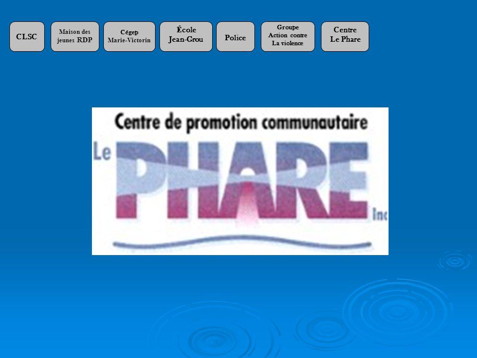 CLSC Maison des jeunes RDP Cégep Marie-Victorin École Jean-Grou Police Groupe Action contre La violence Centre Le Phare