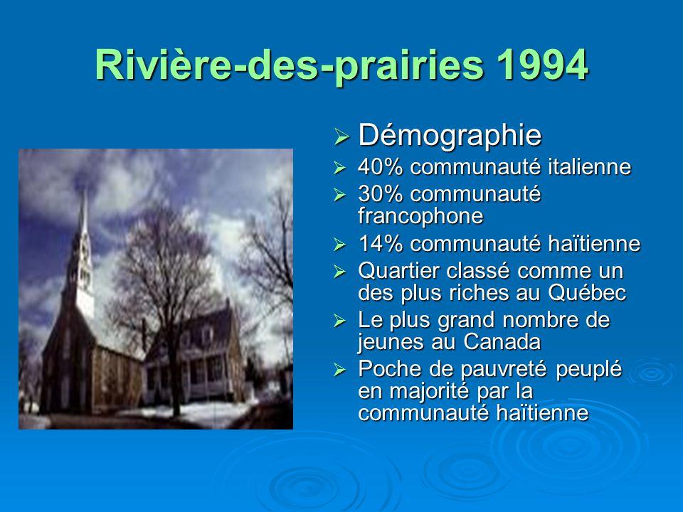 Rivière-des-prairies 1994  Démographie  40% communauté italienne  30% communauté francophone  14% communauté haïtienne  Quartier classé comme un des plus riches au Québec  Le plus grand nombre de jeunes au Canada  Poche de pauvreté peuplé en majorité par la communauté haïtienne