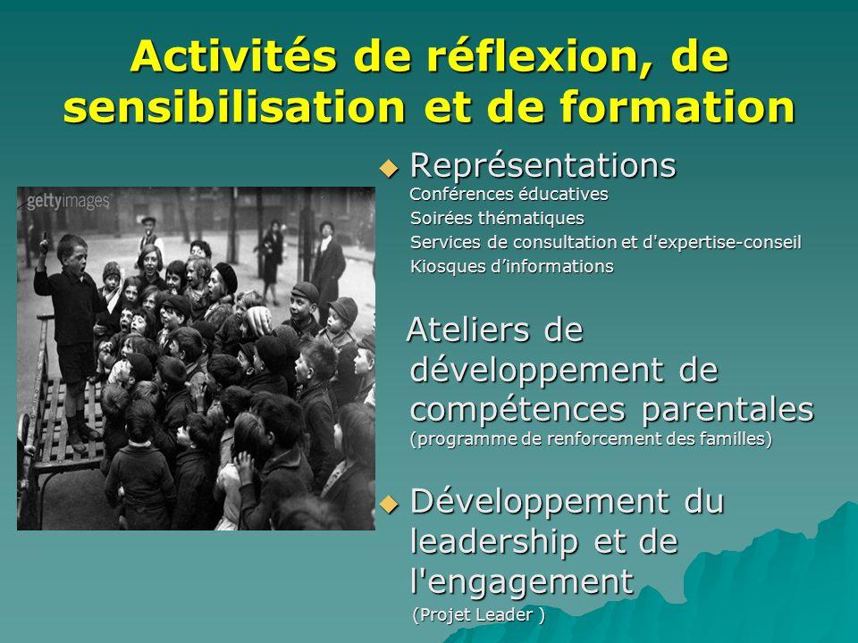 Activités de réflexion, de sensibilisation et de formation  Représentations Conférences éducatives Soirées thématiques Soirées thématiques Services d