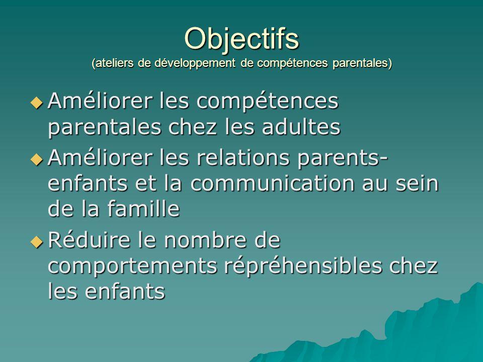  Améliorer les compétences parentales chez les adultes  Améliorer les relations parents- enfants et la communication au sein de la famille  Réduire le nombre de comportements répréhensibles chez les enfants