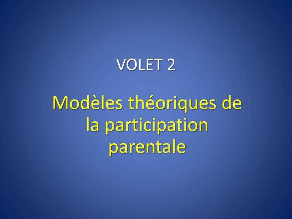 VOLET 2 Modèles théoriques de la participation parentale