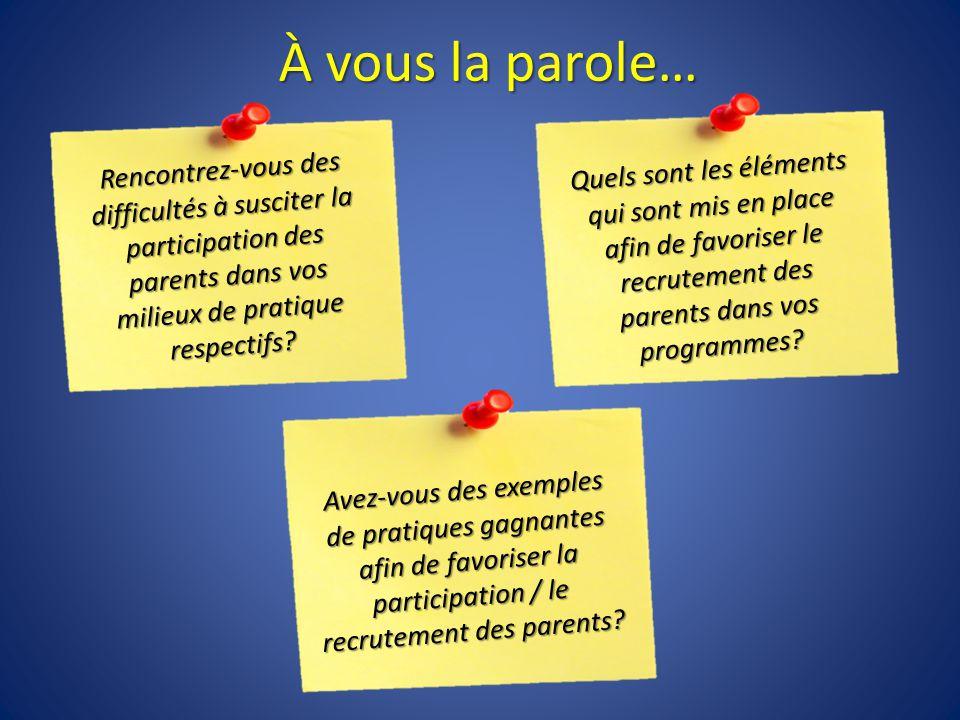 À vous la parole… Rencontrez-vous des difficultés à susciter la participation des parents dans vos milieux de pratique respectifs.