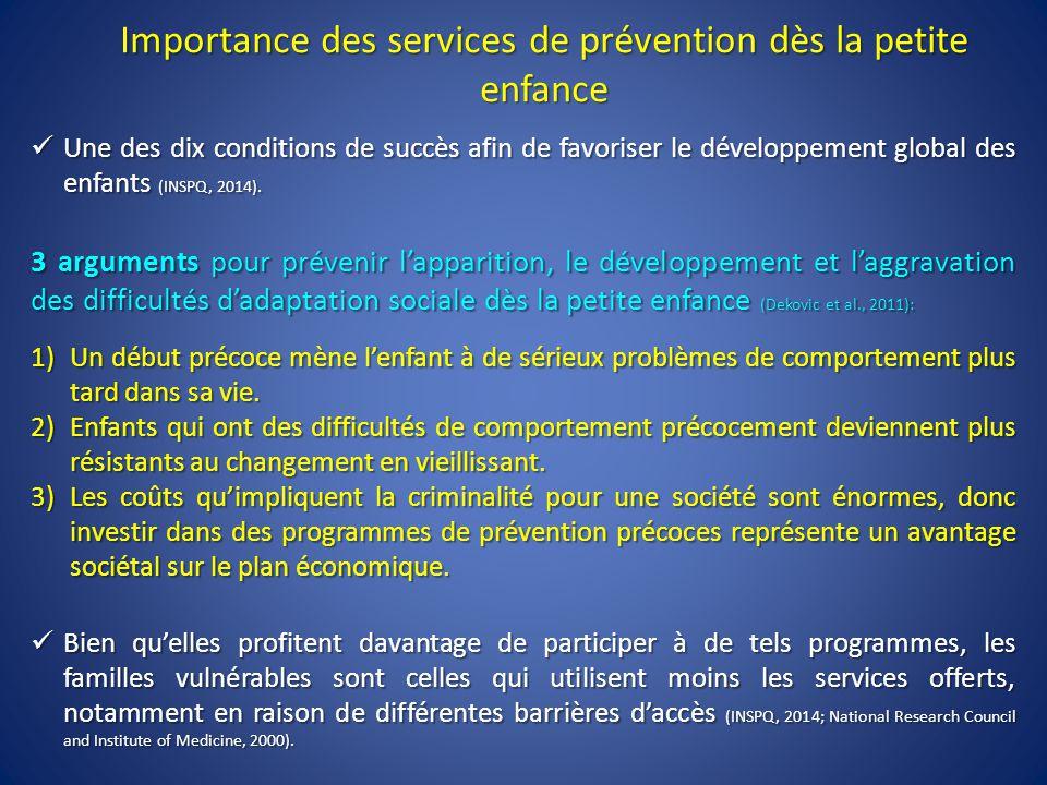 Importance des services de prévention dès la petite enfance Une des dix conditions de succès afin de favoriser le développement global des enfants (INSPQ, 2014).