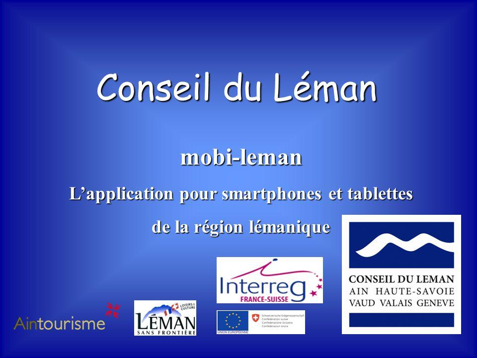 Conseil du Léman mobi-leman L'application pour smartphones et tablettes de la région lémanique