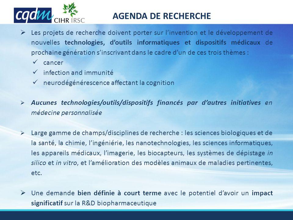 AGENDA DE RECHERCHE  Les projets de recherche doivent porter sur l'invention et le développement de nouvelles technologies, d'outils informatiques et