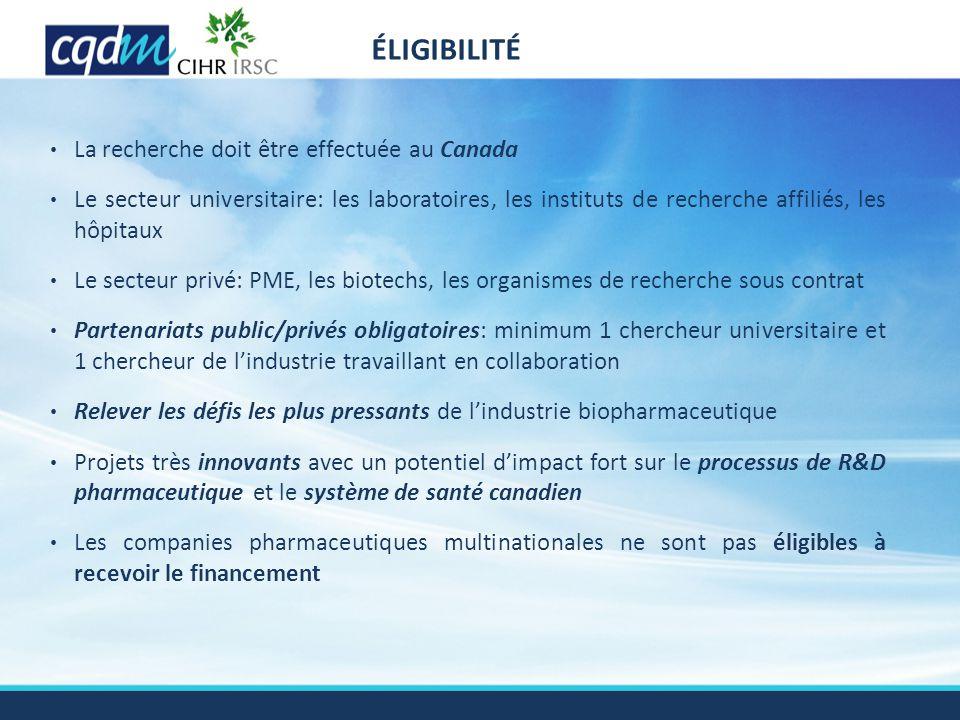 La recherche doit être effectuée au Canada Le secteur universitaire: les laboratoires, les instituts de recherche affiliés, les hôpitaux Le secteur pr