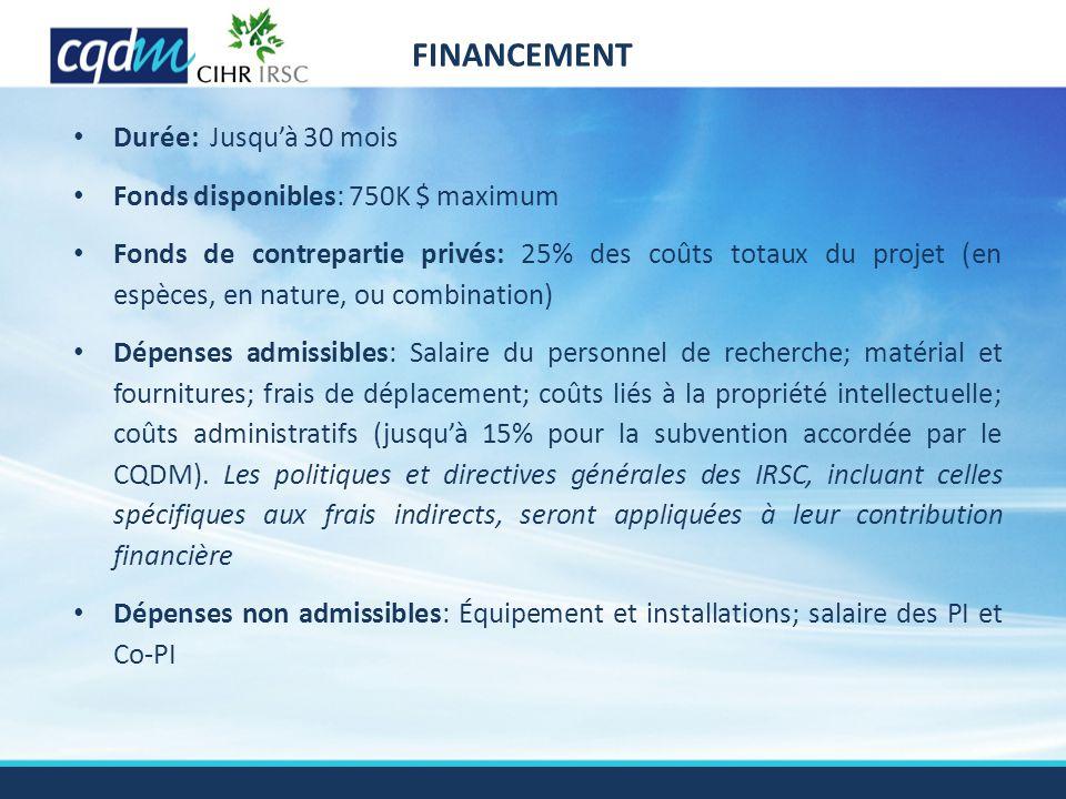 Durée: Jusqu'à 30 mois Fonds disponibles: 750K $ maximum Fonds de contrepartie privés: 25% des coûts totaux du projet (en espèces, en nature, ou combi