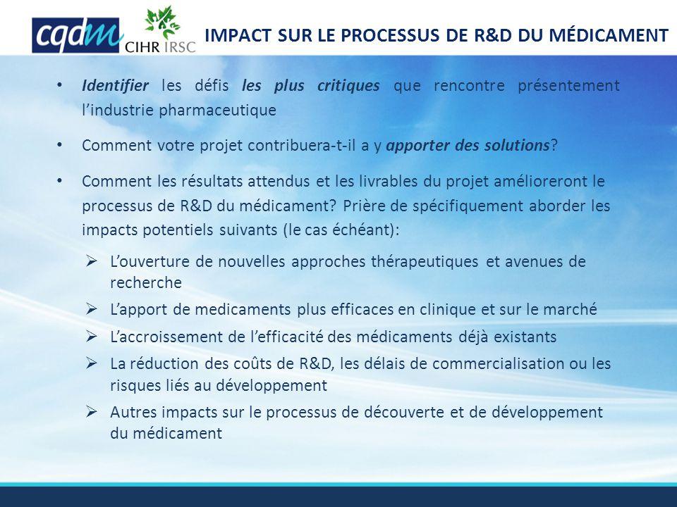 IMPACT SUR LE PROCESSUS DE R&D DU MÉDICAMENT Identifier les défis les plus critiques que rencontre présentement l'industrie pharmaceutique Comment vot