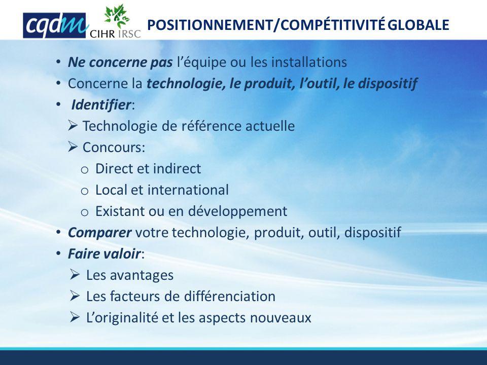 POSITIONNEMENT/COMPÉTITIVITÉ GLOBALE Ne concerne pas l'équipe ou les installations Concerne la technologie, le produit, l'outil, le dispositif Identif