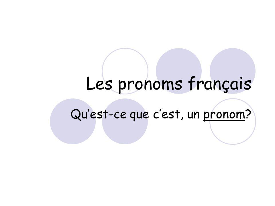Les pronoms français Qu'est-ce que c'est, un pronom?