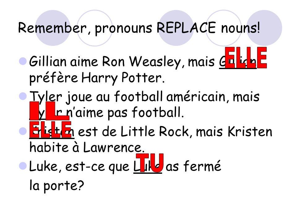 Remember, pronouns REPLACE nouns.Gillian aime Ron Weasley, mais Gillian préfère Harry Potter.