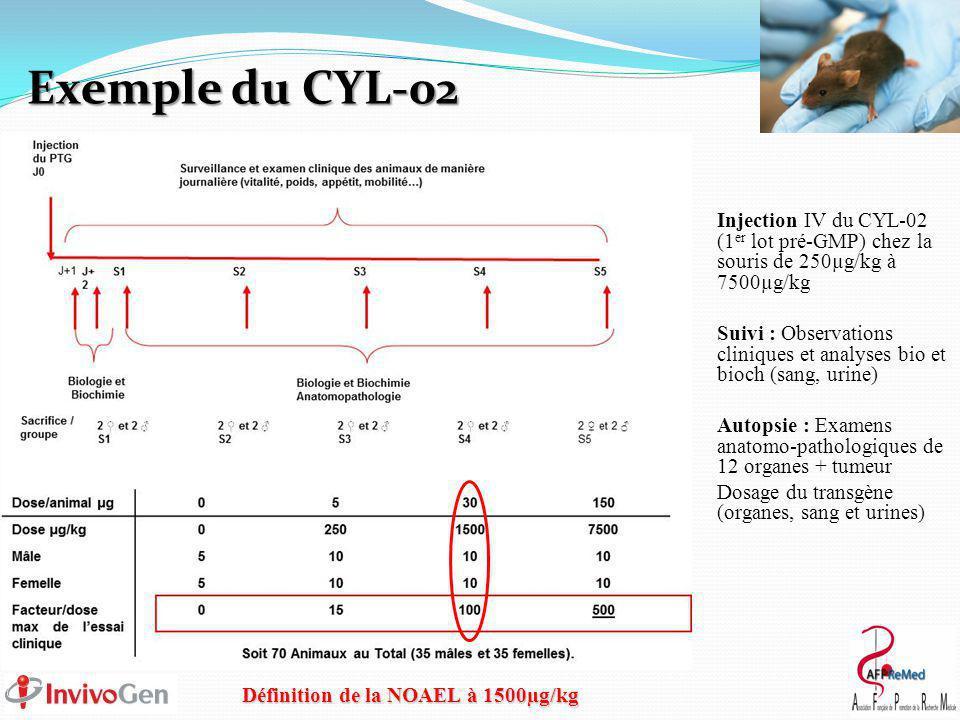 Exemple du CYL-02 Injection IV du CYL-02 (1 er lot pré-GMP) chez la souris de 250µg/kg à 7500µg/kg Suivi : Observations cliniques et analyses bio et bioch (sang, urine) Autopsie : Examens anatomo-pathologiques de 12 organes + tumeur Dosage du transgène (organes, sang et urines) Définition de la NOAEL à 1500µg/kg
