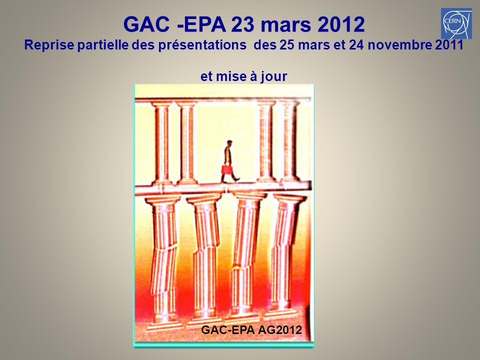 GAC -EPA 23 mars 2012 Reprise partielle des présentations des 25 mars et 24 novembre 2011 et mise à jour 1 GAC-EPA AG2012