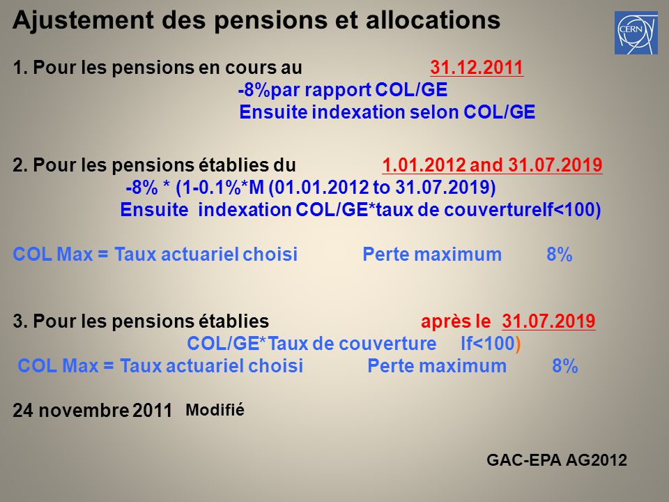Ajustement des pensions et allocations 1.
