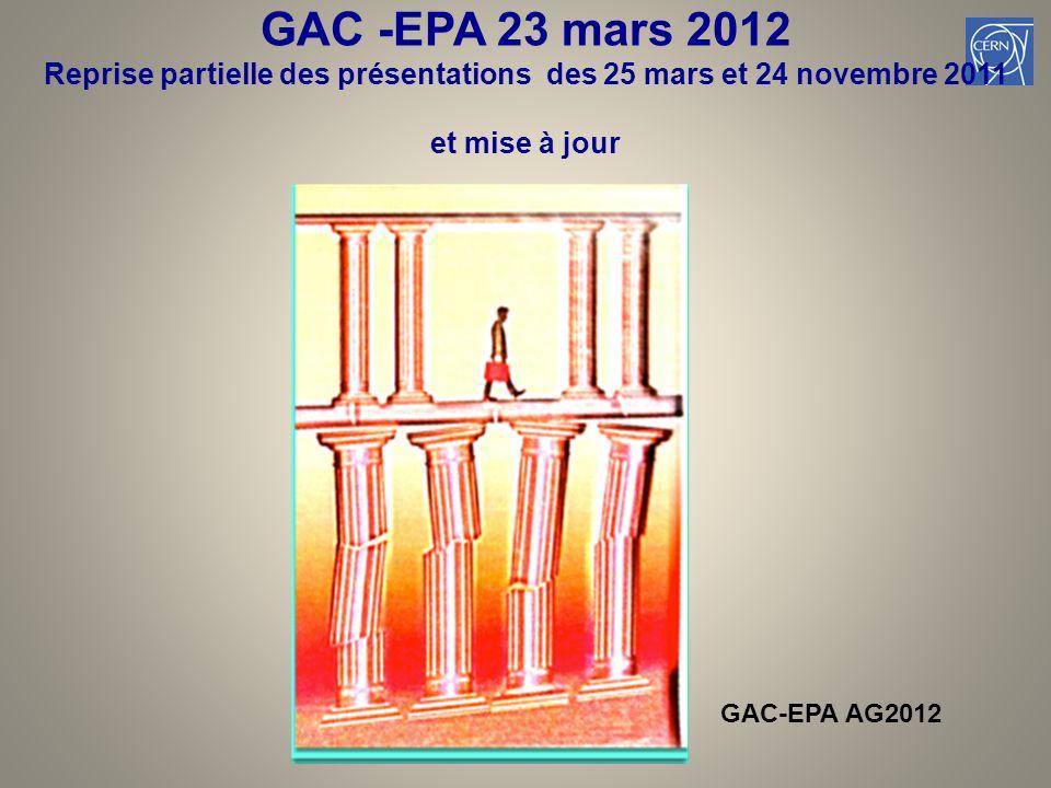 GAC -EPA 23 mars 2012 Reprise partielle des présentations des 25 mars et 24 novembre 2011 et mise à jour 4 GAC-EPA AG2012